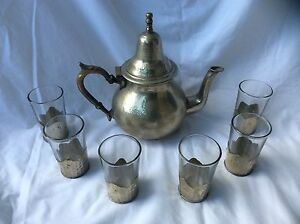 Vintage-Moroccan-Silver-Teapot-with-Six-Silver-Based-Glasses