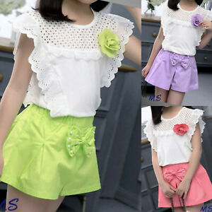Girls Top Shorts set Lace Outfit Kids Summer Short sleeve Sets Age 3-11  years | eBay