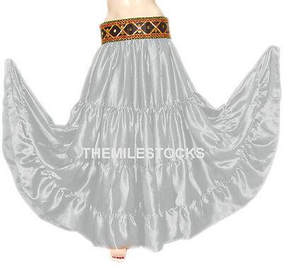 TMS SALMON 4 Tier Skirt Belly Dance Club TRIBAL Gypsy Costume Club JUPE DANSE