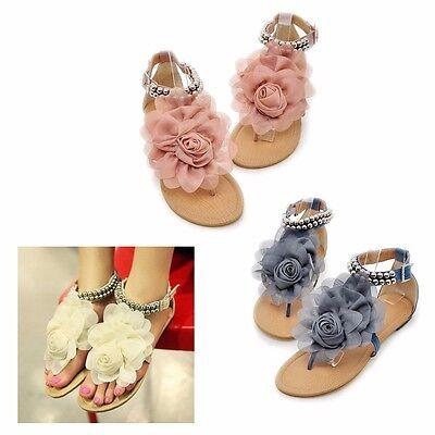 Women Flower Pearls Flats T Strap  Thong Flip Summer Sandals Ankle Beach Shoes