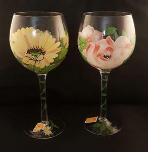 Pair Of Royal Danube Hand Painted Wine Glasses Flowers Ebay