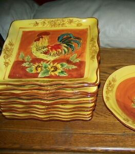 6-pc-11-5-034-Maxcera-China-ORANGE-ROOSTER-Dinner-Plates-French-Country-UNUSED-Av-2