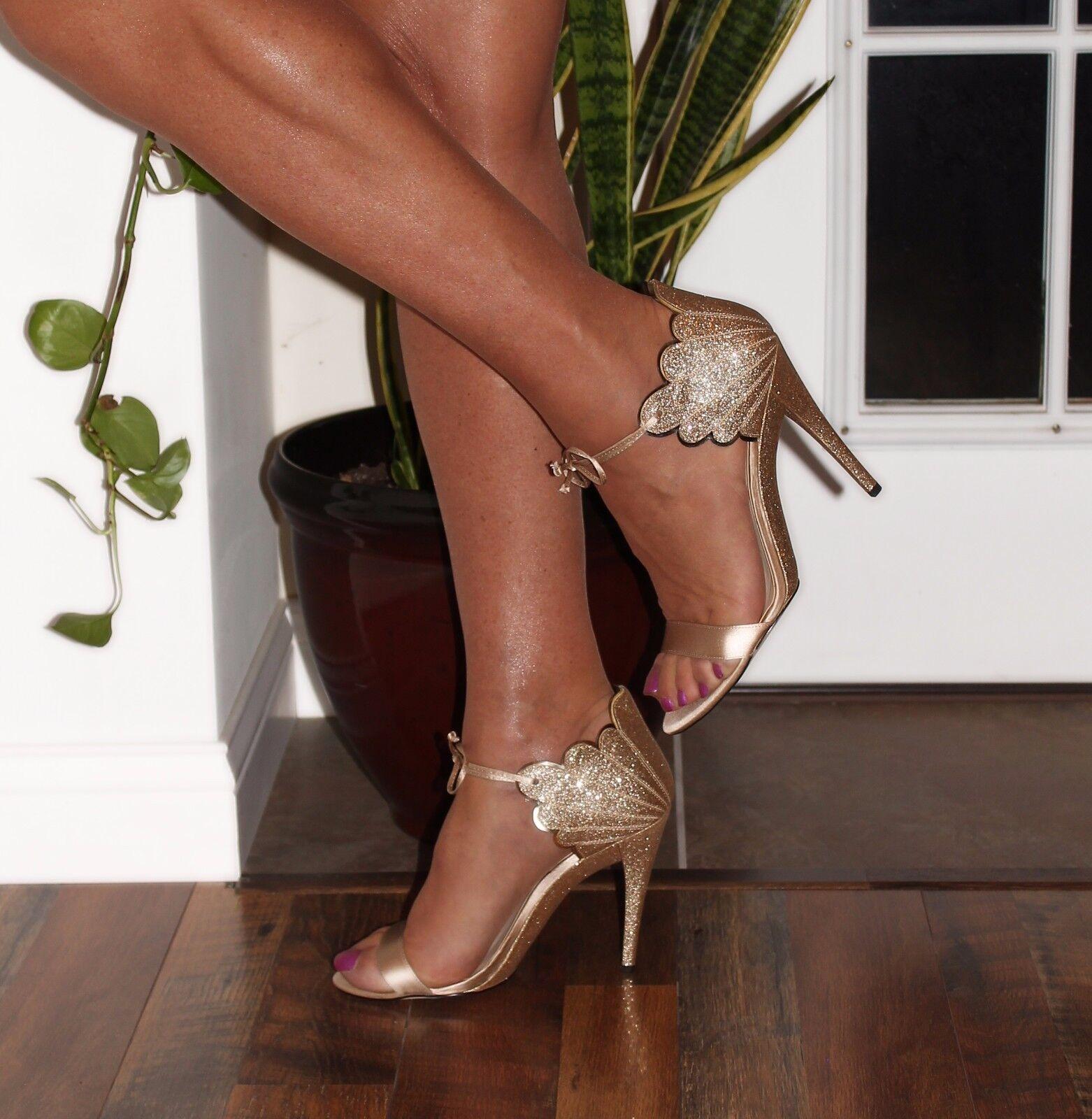 alla moda 5  High Heel NINE WEST Carly Carly Carly oro Strappy Glitter Sandals New Dimensione 12  autorizzazione