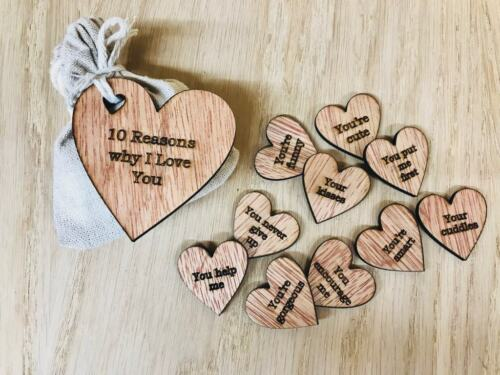 Personalised Valentines Day Gift Engraved Wood Hearts 10 Reasons Why I Love You