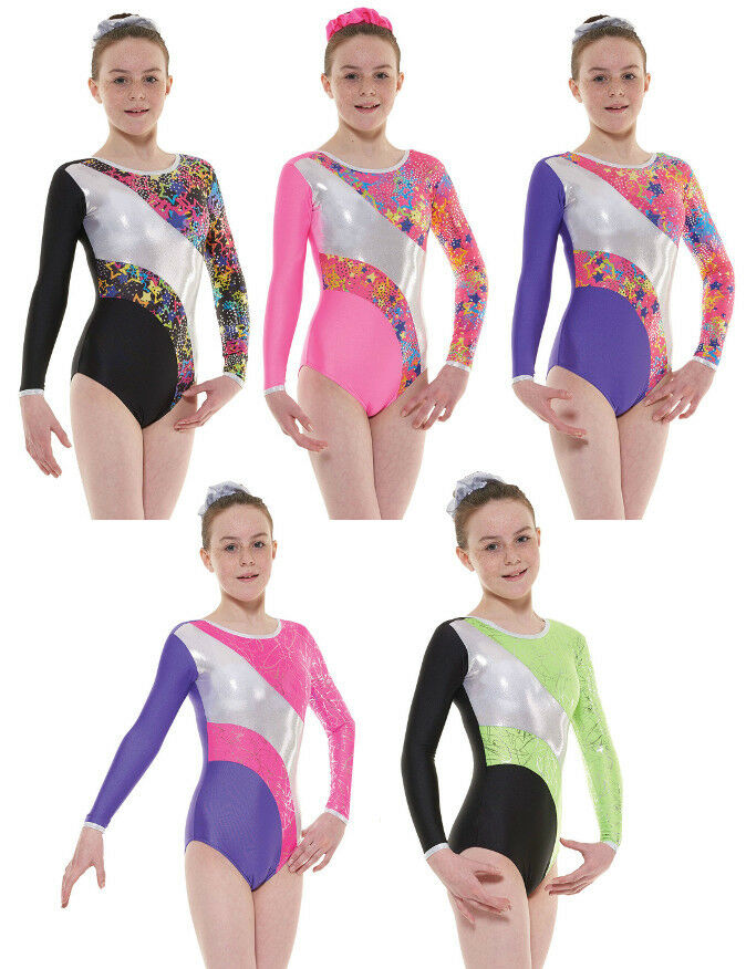 Nylon Sparkly Foil Girls Gymnastics Long Sleeved Leotard Gym Dancewear Age 4-12