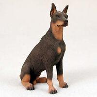 Doberman Pinscher Hand Painted Collectible Dog Figurine Statue Red