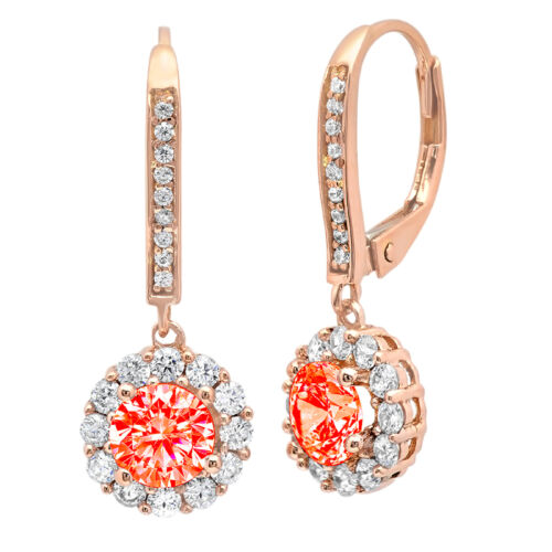 Details about  /3.55ct Round Brilliant Cut Halo Red CZ Drop Dangle Earrings Real 14k rose Gold