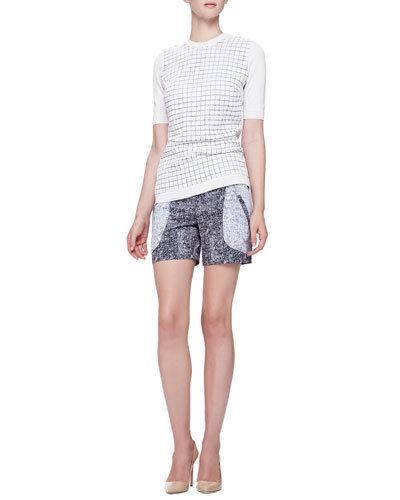 Neu Lela Rose Tile-Knit Kurzarm Top Sweatshirt Weiß Creme GRÖSSE L XL