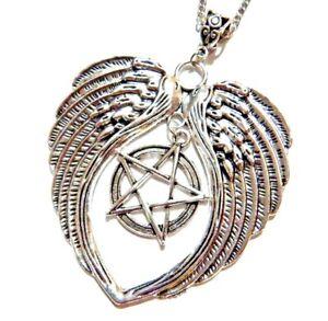 9fa491e3c296 La imagen se está cargando Muy-Grande-Wiccano-Alas-de-Angel-Collar -Pentagrama-