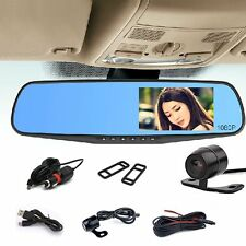 "4.3"" Dual Lens 1080p HD Dash Cam Video Recorder Rearview Mirror Car Camera US"