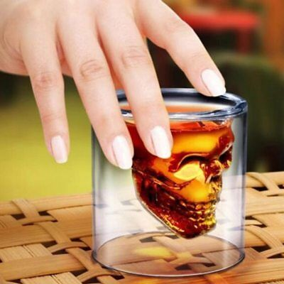 Skull Transparent Glass Cup Beer Tea Wine Whiskey Crystal Skeleton Drinkware Mug