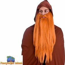GINGER DELUXE VERY LONG BEARD GNOME DWARF FANTASY WIG mens fancy dress costume