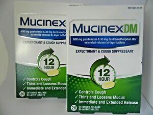 Details About Mucinex Dm Expectorant Cough Suppressant 12 Hour 20 Tablets Ea 2 Count Exp 3 21