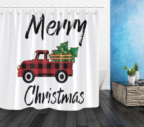 Merry Christmas Red Checkered Farm Truck Shower Curtain Set Bathroom Decor 180cm