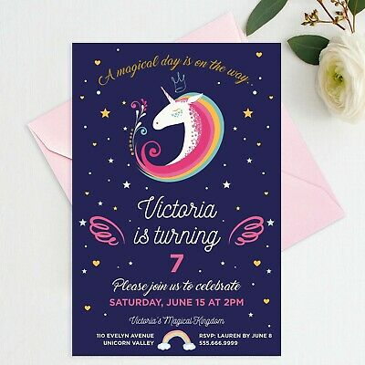 graphic about Unicorn Invitations Printable named Printable Unicorn Invite Women of all ages Personalized Birthday Rainbow Unicorn Invitation eBay