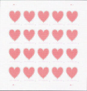 Five x 20 = 100 MADE OF HEARTS US PS 2020 LOVE Forever Postage Stamps. Sc # 5431