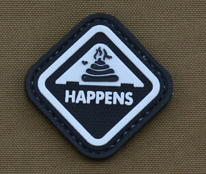 PVC-Rubber-Patch-034-Happens-034-With-Velcro-Brand-Gancho