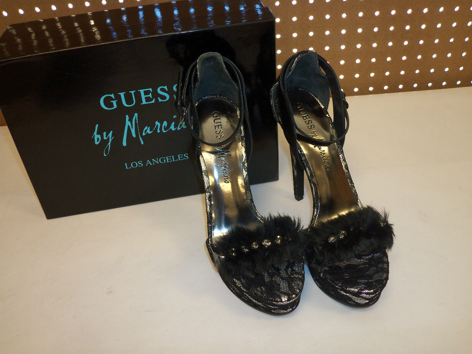 Guess By Marciano Los Angeles New Womens Kassie Pewter Multi Fabric 8 M Open Toe