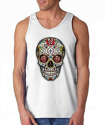 Sugar Skull roses eyes Day of the Dead TANK TOP Mexican Gothic tee