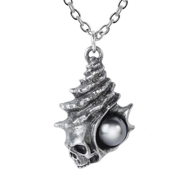 1c0c0a93c04e6 ALCHEMY PLAGE NOIRE Black Pearl and Shell Skull Pendant Swarovski + VELVET  POUCH