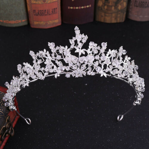 5.6cm High Leaves Crystal Tiara Crown Wedding Bridal Party Pageant Prom 3 Colors