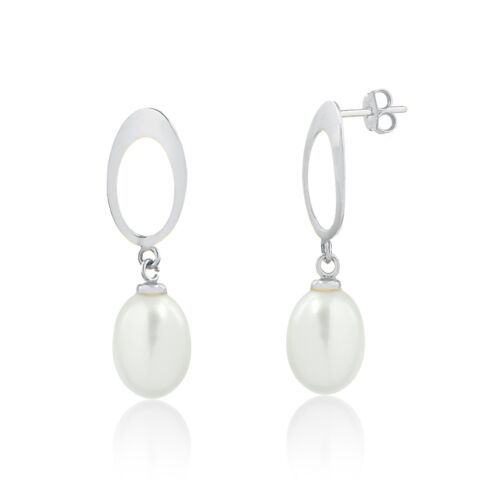 18k Solid White Gold Freshwater White Pearl Drop Dangle Earrings for Women