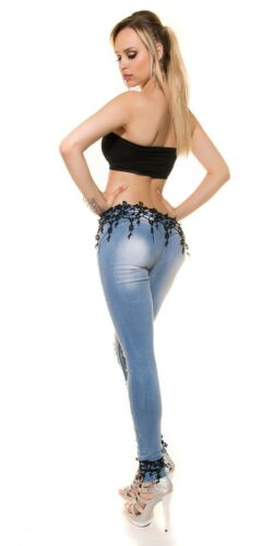 KouCla Skinny-Jeans Damen Hose  Jeans mit Stickerei Spitze