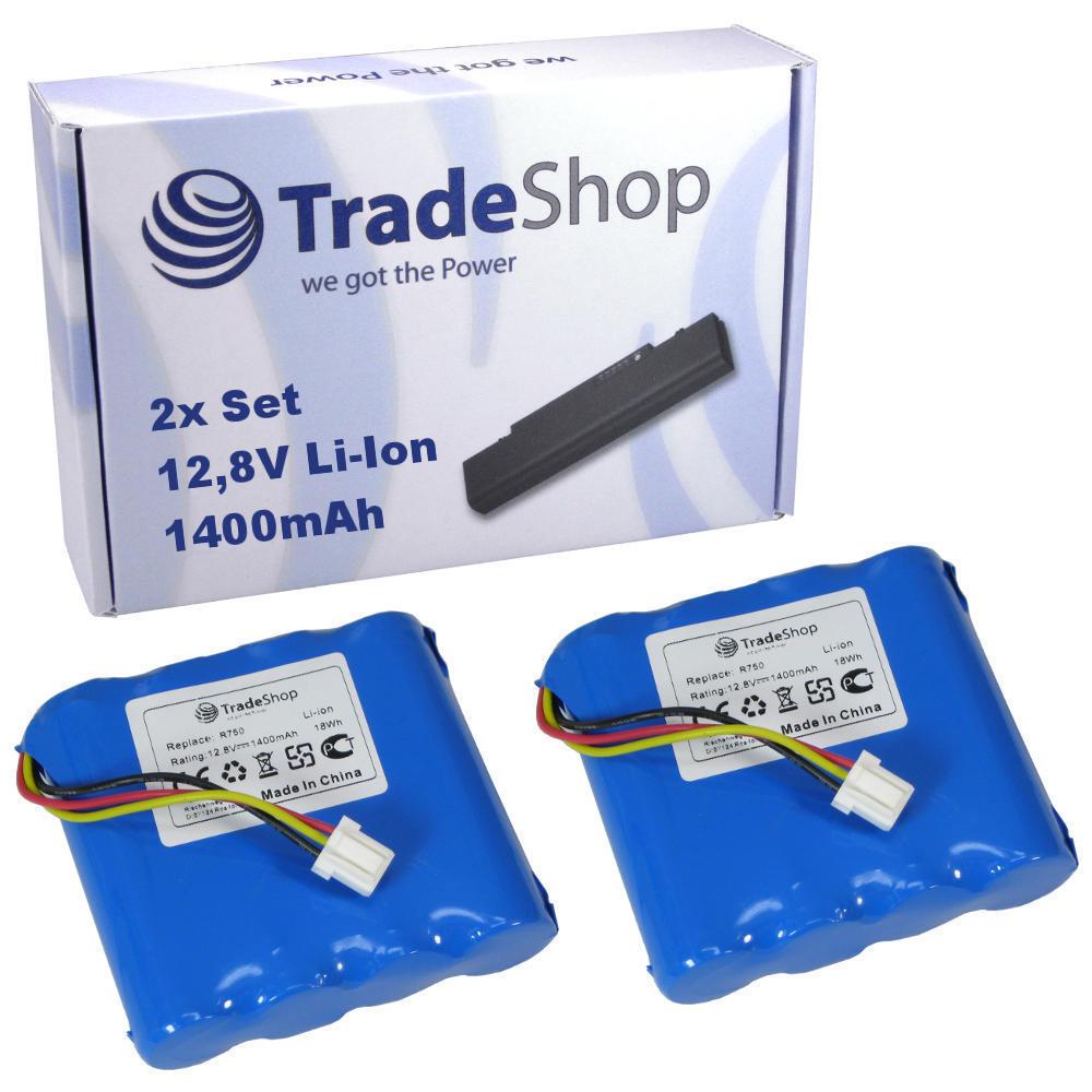 2x Trade-Shop Premium Akku 1400mAh 12,8V Li-Ion für Moneual Cleanbot R750 R790
