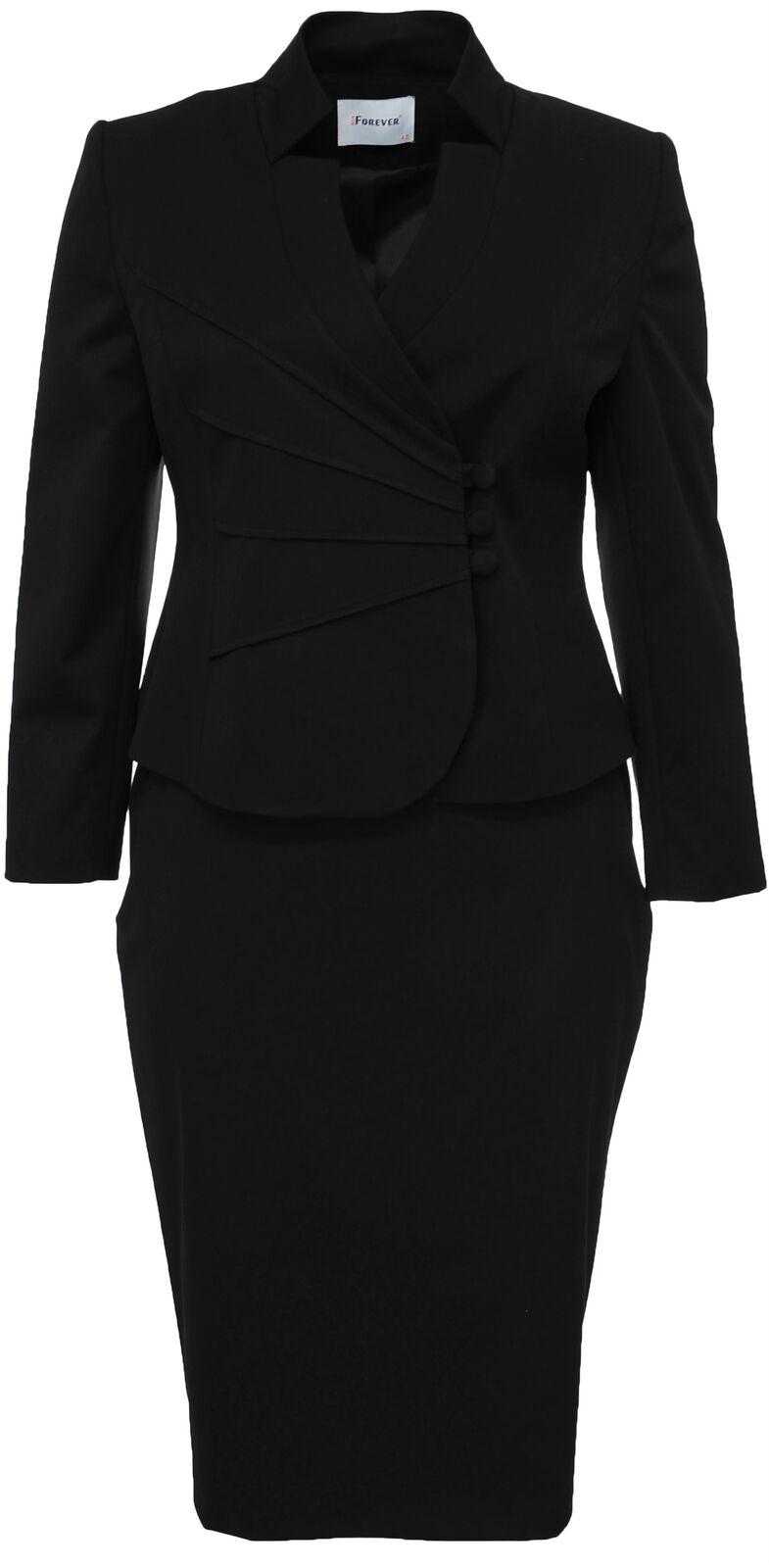 Da Donna Taglia Taglia Taglia 14-22 nero nuovo stile Blazer manica lunga con gonna Nuovo con Etichetta Donna 7c4096