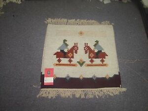 NWT NEW Russian Folk Art Kilim Hand Knotted Wool Tapestry 1'-9 x 1'-5 Ivory