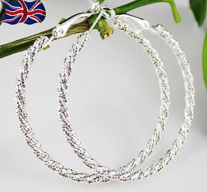 Image Is Loading 925 Sterling Silver Hoop Earrings Large Diamond Cut