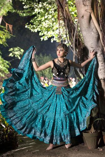 SEAGREEN TRIBAL BELLY DANCE 4 TIER JODHA MAHARANI SKIRT 25 YARD SKIRT