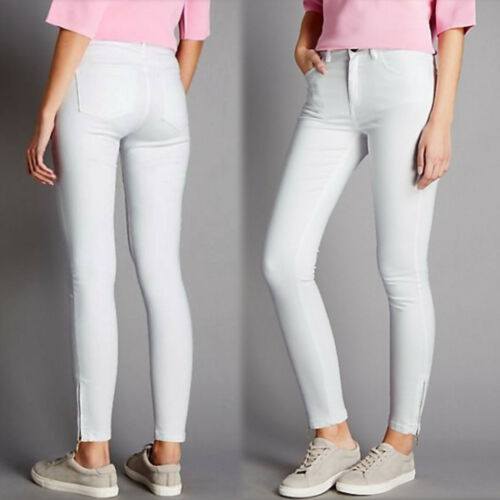 M/&S AUTOGRAPH Mid Rise SKINNY Zip Ankle JEANS ~ Size 20 Med ~ SOFT WHITE