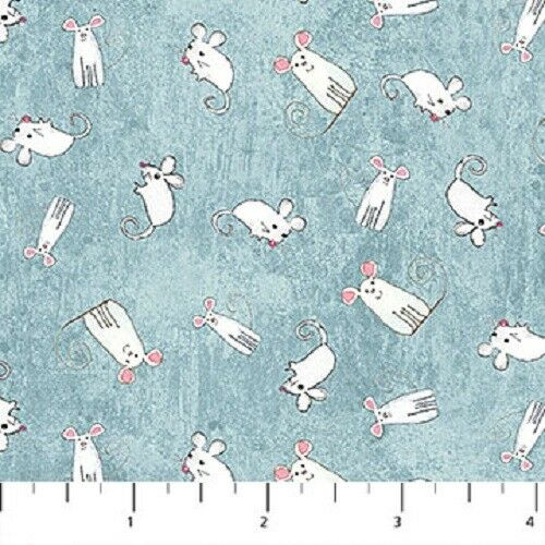 100/% cotton 22163 You had me at meow Fabric white mice on teal   fat 1//4s