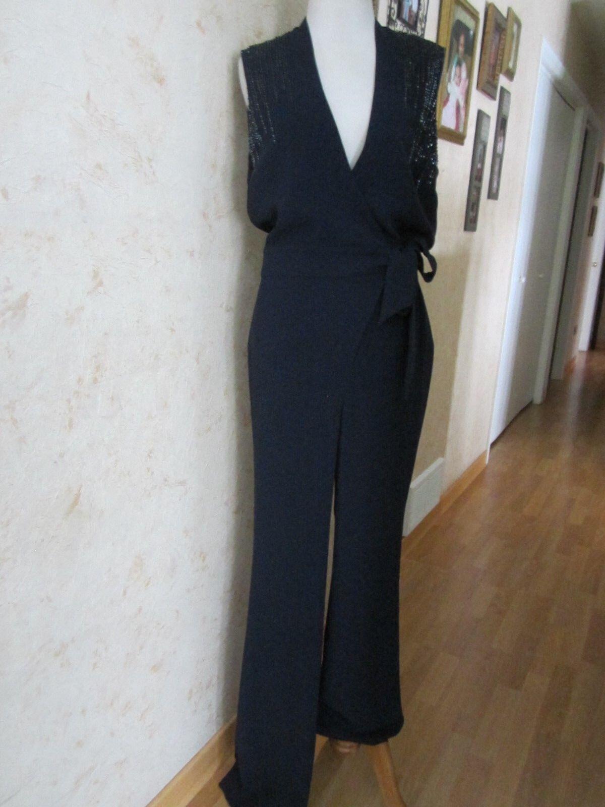 Diane Von Furstenberg Margot jumpsuit Navy bluee Wide-Leg Size 6