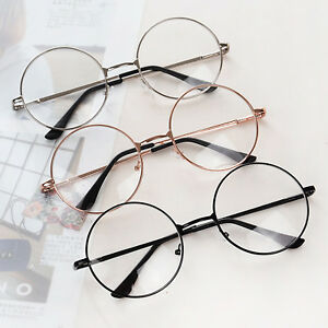 2d508b59fe New Eyeglasses Retro Big Round Metal Frame Clear Lens Glasses Nerd ...
