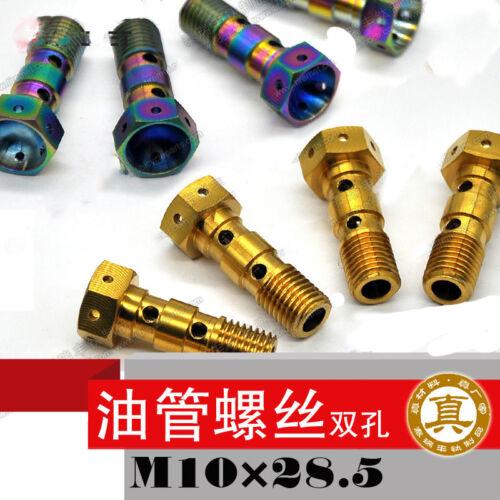 M10X28.5mm Titanium Motorcy clerefit brake pump Double hole oil pipe screws