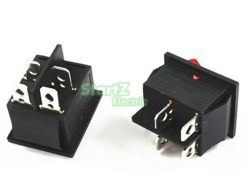 Rectangular Latching Rocker Switch 2 Position 4 DPST Pins Black Red Green Blue