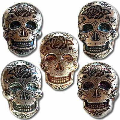 Hand Poured MPM Mint 2 oz .999 Silver Sugar Skull Day Of The Dead Rose 3D Bar