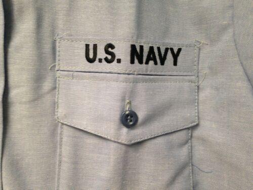 NOS US MILITARY NAVY USN BLUE CHAMBRAY UTILITY WORK LONG SLEEVE SHIRT MENS XLx34