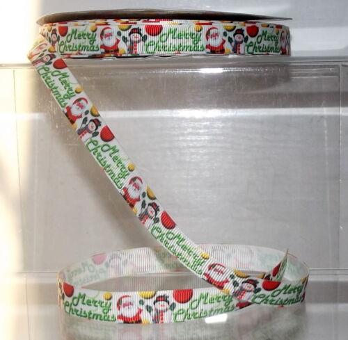 "1//2/"" Christmas Printed Grosgrain Ribbon 12mm wide 1 2 5 10m Merry Xmas Santa"