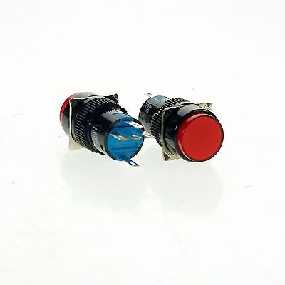 PushButton Switch Red 1NO 1NC 16mm Hole Momentary With 12V Pilot Light Lamp 10