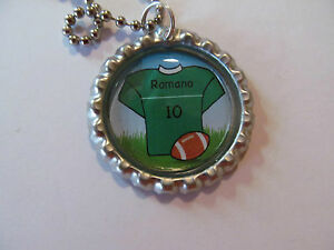 Personalized Football or Soccer Jersey  Bottle Cap on 18 in ball chain necklace