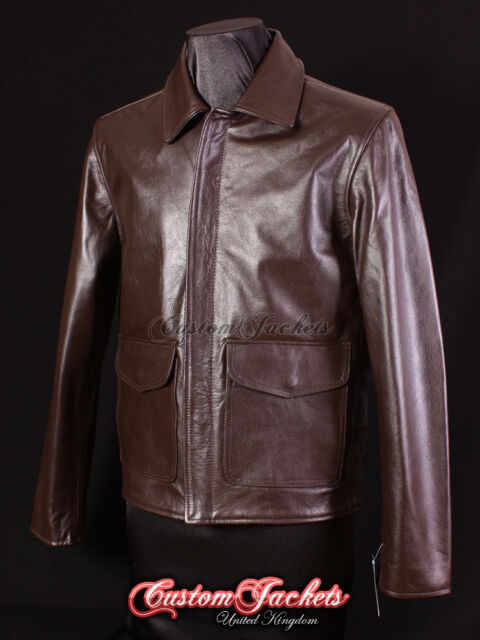 Men's JONES Brown Hide WW2 INDY Style RAIDERS Flight Pilot Real Leather Jacket