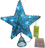 "10"" Turquoise Springy Star With White Led Lights - Christmas Tree Star (RA150)"