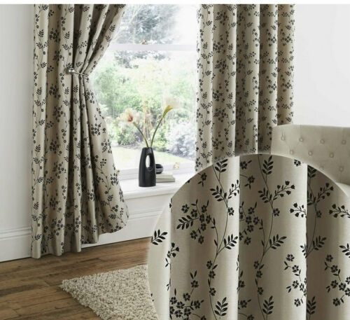 """EYELET READY MADE LINED CURTAINS 66/"""" x 90/"""" CORVETTE BLACK FLORAL BEIGE TAUPE"""
