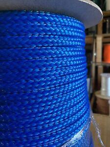 1-2-x-100-ft-Pre-Cut-Hollow-Braid-Polypropylene-rope-hank-Blue-US-Made