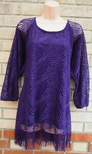 NEW-DIRECTIONS-WOMAN-PURPLE-CROCHET-LACE-TASSEL-FRINGED-LONG-TOP-BLOUSE-SHIRT-20