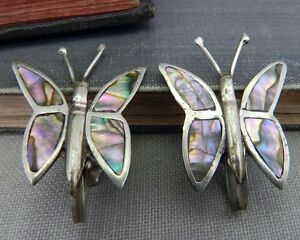 Inlaid #b217 Fabulous Multi Color Vintage MEXICO Sterling Silver and Abalone Hoop Screwback Earrings Large 925 Silver