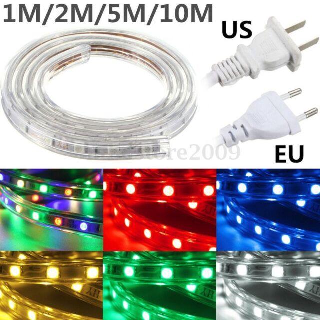 1M/2M/5M/10M RGB 5050 SMD 60LED Flexible Strip Light Lamp Waterproof 220V + Plug
